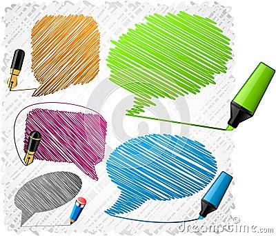 Scribbled speech shapes.