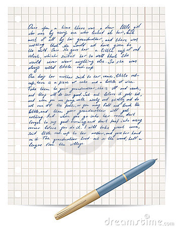 Script on copybook paper and pen