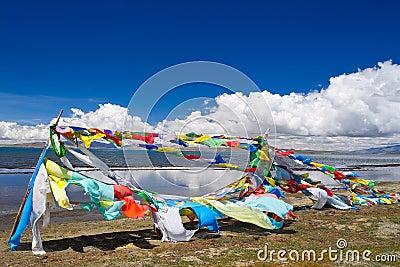 Scripture flag near the Mapam Yumco