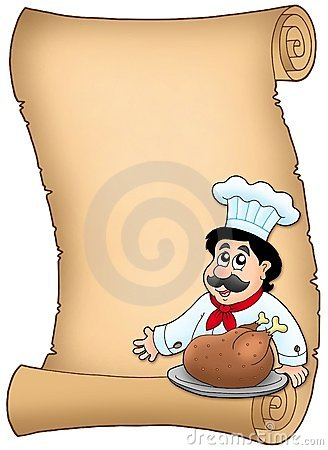 Scroll with chef with roasted meat