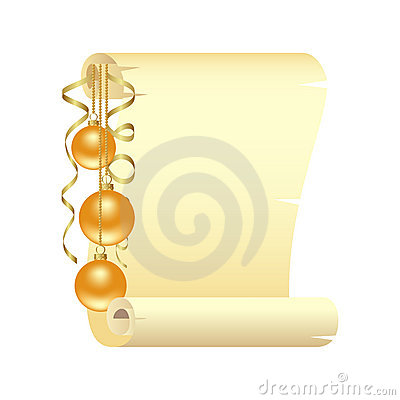 Scroll with Christmas decoration
