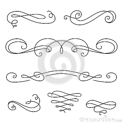 Free Scroll Elements, Set Of Vintage Calligraphic Vignettes Stock Photos - 56848943