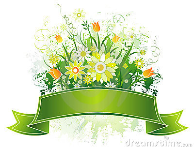 Scroll and flowers, vector