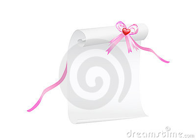 Scroll of paper with a pink ribbon and heart