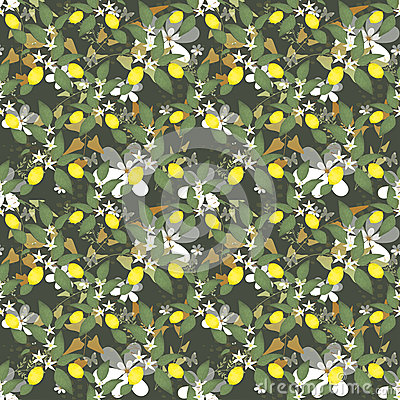 Scroll pattern with lemons, flowers and leaves on green