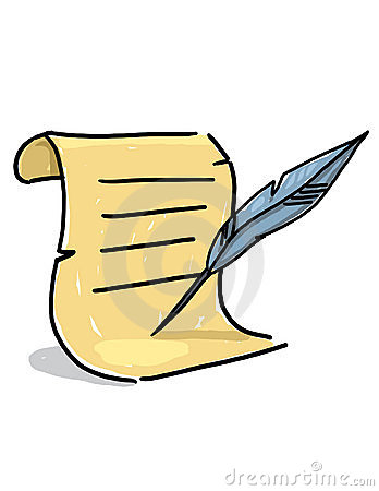 Scroll and quill illustration