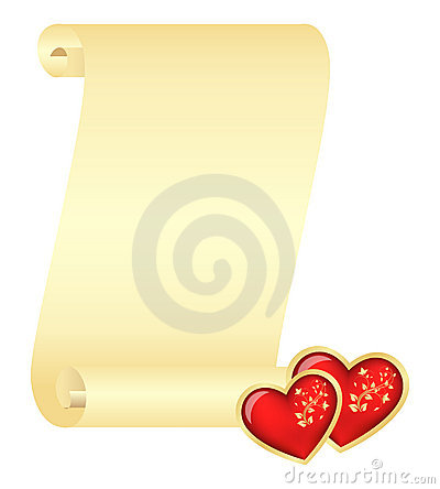 Scroll with two hearts