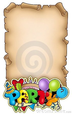 Free Scroll With Party Sign Royalty Free Stock Image - 15619976
