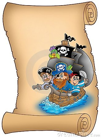 Free Scroll With Saiboat And Pirates Royalty Free Stock Photography - 13275307