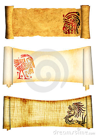 Scrolls with American Indian traditional patterns