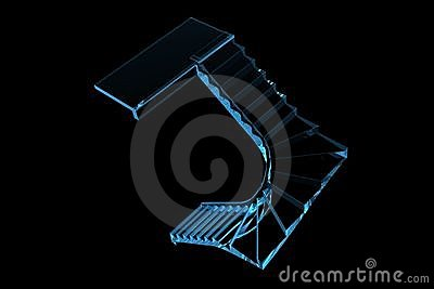 Scrool stairs 3D xray blue