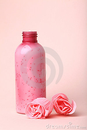 Scrub bottle and roses