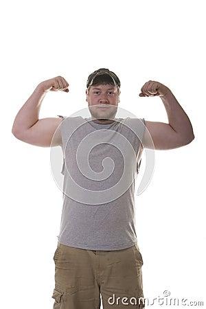 Scruffy Man Showing Muscles
