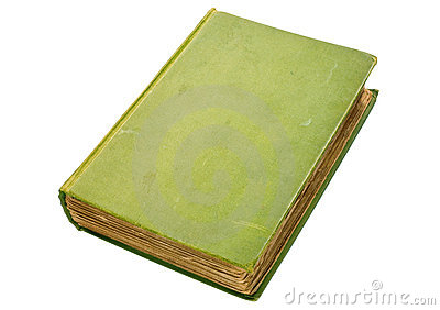 Scruffy old green hardback book isolated on white.