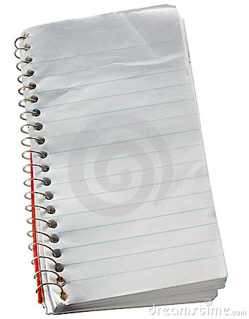 Scruffy old reporters notepad.