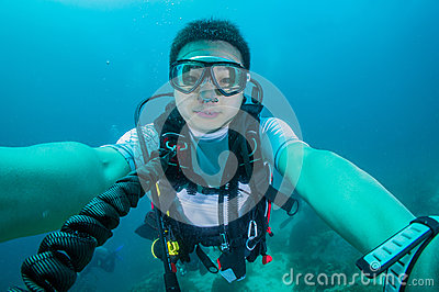 Scuba diver with diving gears