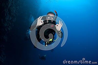 Scuba diver gesturing OK