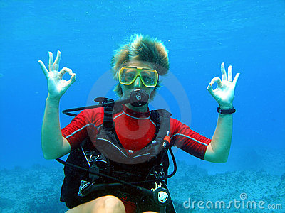 Scuba diver gives a big Okay