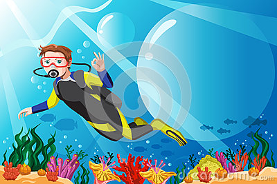 Scuba diver in the ocean