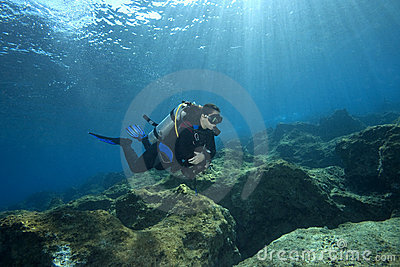 Scuba-Diver in shallow water