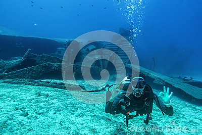 Scuba diver during a wreck dive in Greece Stock Photo