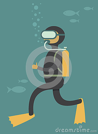 Stock Illustration Scuba Diver Under Water Cartoon Vector Character Im...