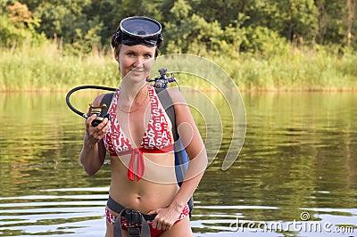 Scuba diver woman