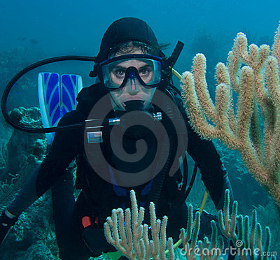 SCUBA DIVER WOMAN UNDERWATER (click image to zoom)