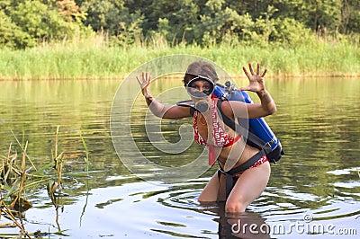 Scuba diver young woman