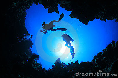 Scuba Divers above Cavern