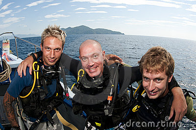 Scuba divers on boat befor dive