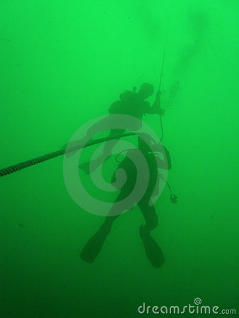 Free Scuba Divers Green Water Diving Royalty Free Stock Image - 1275586