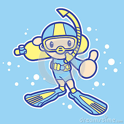 Scuba diving exercise in boys Mascot. Sports Character Design Se
