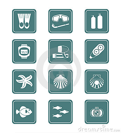 Scuba diving icons | TEAL series