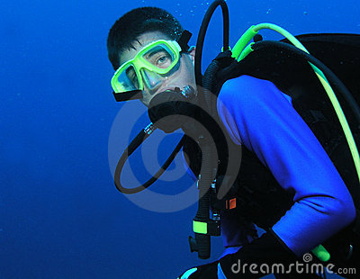 Scuba diving teenager