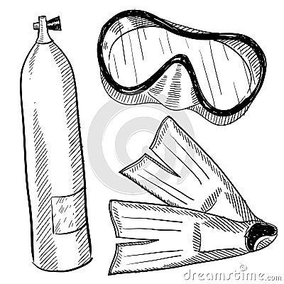 SCUBA gear drawing