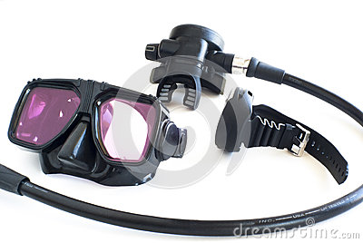 Scuba gear on white background