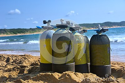 Scuba tanks on beach