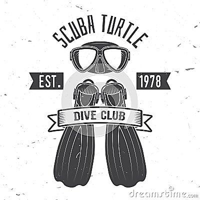 Scuba turtle dive club. Vector illustration.