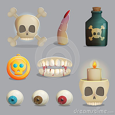 Free Scull And Spooky Body Parts Themed Items For Game Design Stock Photography - 77596442