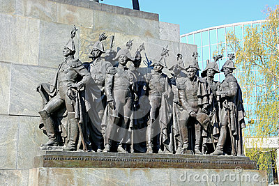 Sculptural group of Russian generals which fought with Napoleon Editorial Stock Image