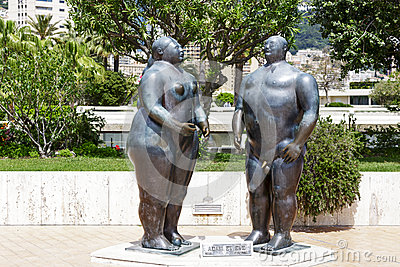 Sculpture Of Adam And Eve In Monte Carlo Editorial Photo