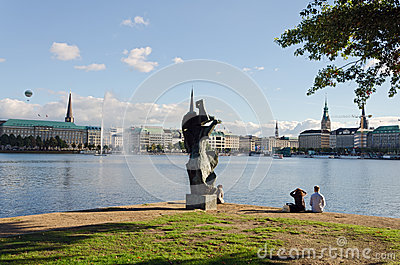 Sculpture Alster Lake Editorial Photo