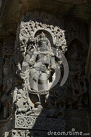 Free Sculpture And Frieze On The Outer Walls Of Hoysaleswara Temple At Halebidu , Karnataka, India Royalty Free Stock Photos - 115203758