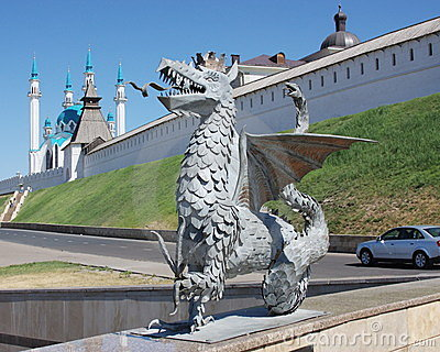 Sculpture of dragon on a background Kremlin