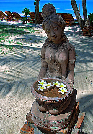 Sculpture with flowers