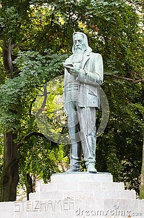 Sculpture of Franz Stelzhamer, in Linz, Upper Austria