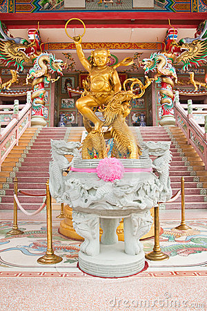 Sculpture of kid Naja in Chinese Temple