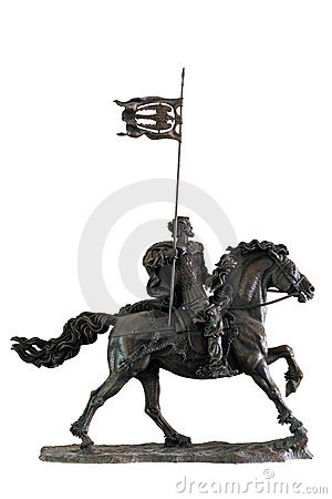 Sculpture of the medieval soldier on a horse