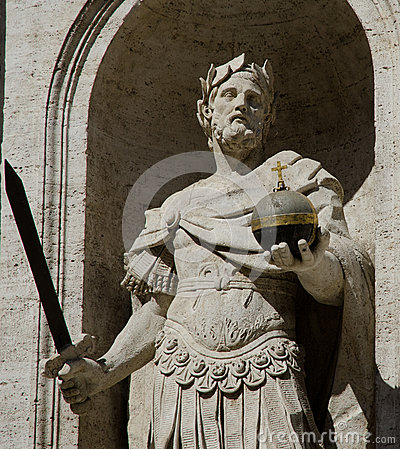 Free Sculpture Of King Holding The Sword And The Cruciger Stock Photos - 27614363